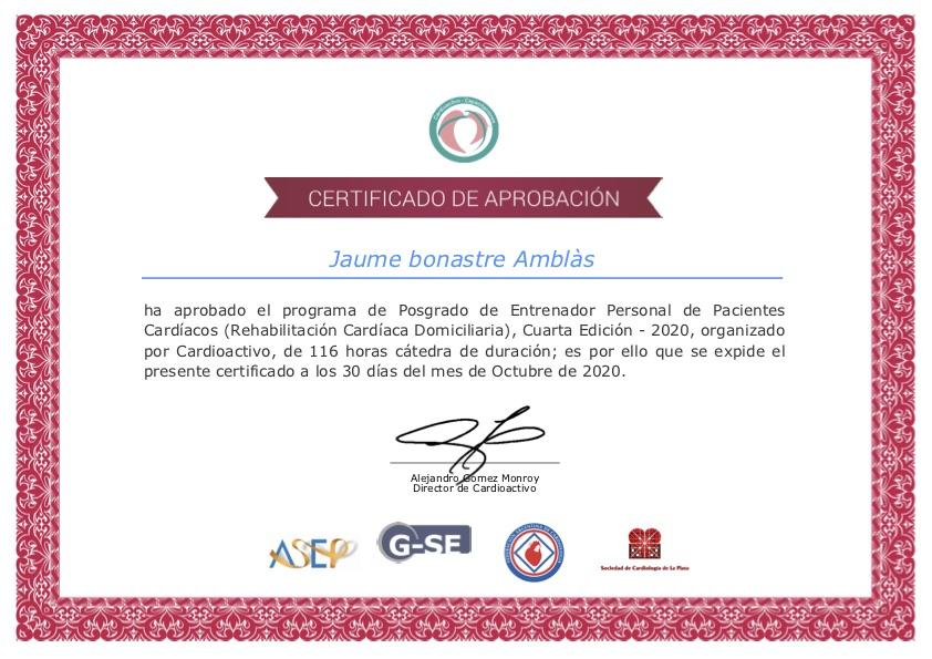 Jaume Bonastre certificado Posgrado de Entrenador Personal de Pacientes Cardíacos - Rehabilitación Cardíaca Domiciliaria