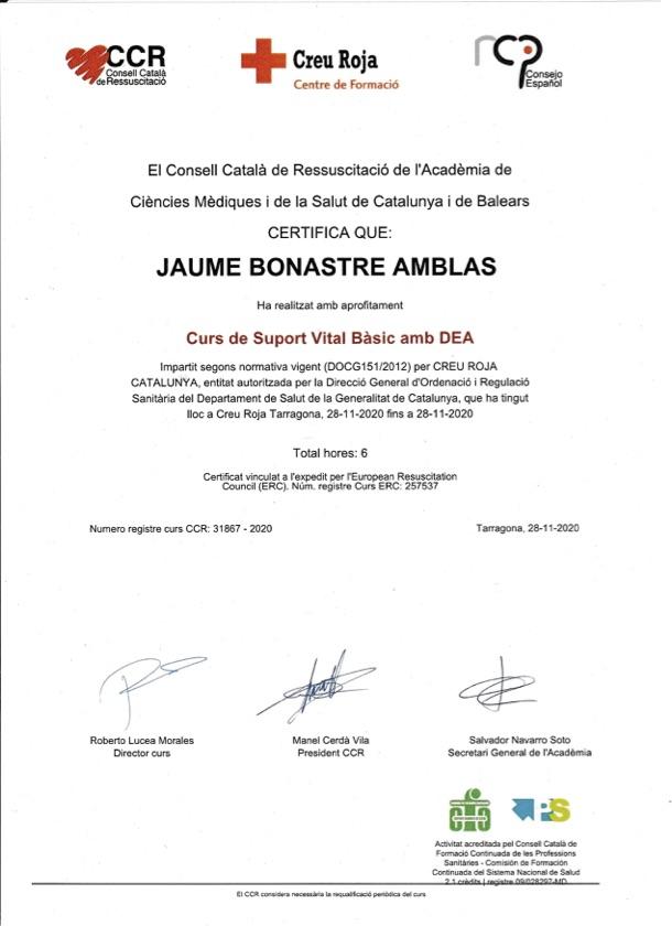 Jaume Bonastre Certificat Suport Basic amb DEA - Creu Roja